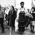 Montgomery, March 25, 1965, Selma-To-Montgomery Voting Rights March. From left: James Baldwin, Joan Baez, Jim Forman, Gwen Patton and Willie McCray.  Courtesy Gwen Patton